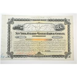 New York, Ontario and Western Railway Co., 188x Proof Stock Certificate.