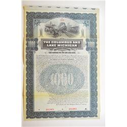 Columbus and Lake Michigan Railroad Co. 1902 Specimen Bond.