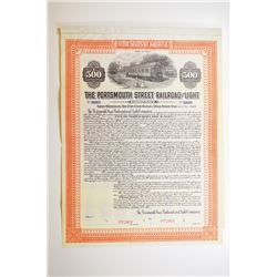 Portsmouth Street Railroad and Light Co. 1914 Specimen Bond.
