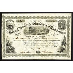 Pittsburgh, New Castle and Cleveland Rail Road Co., 1858 Stock Certificate.