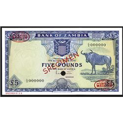 Bank of Zambia, ND (1964) Specimen Banknote.