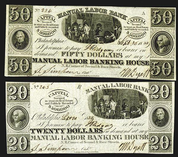 Manual Labor Banking House  20, 50 Dollars  1838