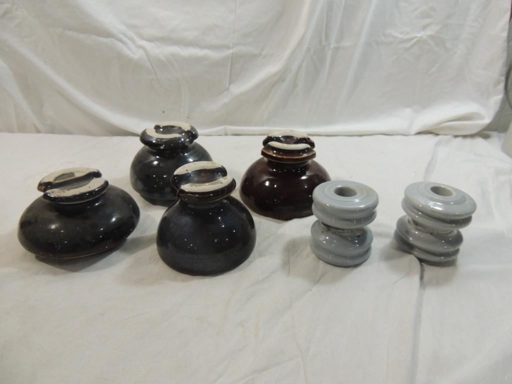 LOT 6 ASSORTED CERAMIC INSULATORS