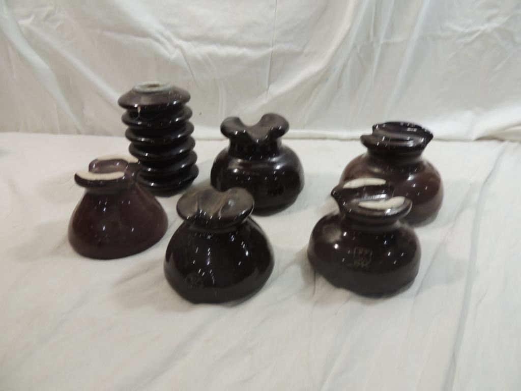 LOT 6 CERAMIC BROWN INSULATORS