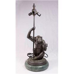 Bronze Monkey 3 Light Lamp