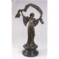 Bronze Sculpture of Art Nouveau Lady