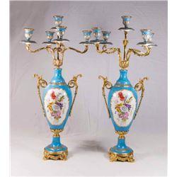 Pair Sèvres Style Porcelain & Brass Candelabra