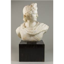 Alabaster Bust of Apollo on Wooden Stand