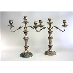 Pair of 3 Light Silver Plated Candelabra