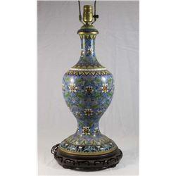 Cloissoné Vase Mounted on Teakwood Pedestal