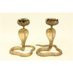 Pair of Brass Cobra Candlesticks