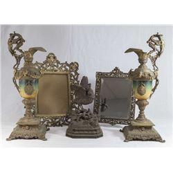 Victorian Mirror, Frame, Pair Ewers & Metal Bird