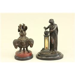 19th Century Bronze Inkwell & Thermometer