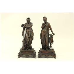Pair Ansonia Metal Female Figures