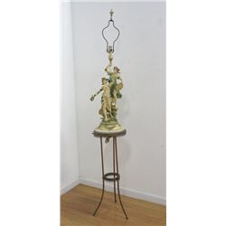Double Figural White Metal Lamp