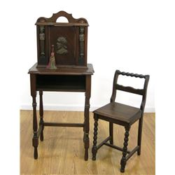 Oval Marble Top Figural Telephone Table & Chair