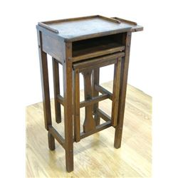 Oak Mission Style Telephone Table with Bench