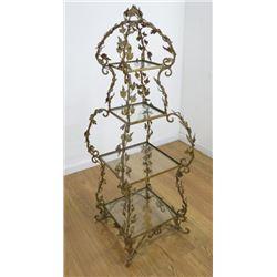 4 Tier Gilt Metal Floral Glass Stand