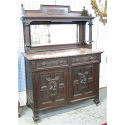 Carved English Walnut Marble Top Server