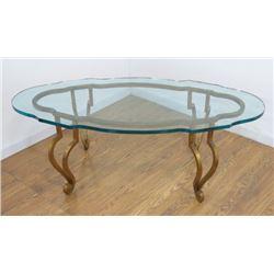 Glass Top Coffee Table with Gilt Metal Base