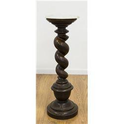 Barley Twist Marble Top Pedestal