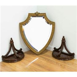 Shield Shaped Mirror & Pair Wall Shelves