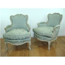 Pair of Louis XV style white painted Berg?res