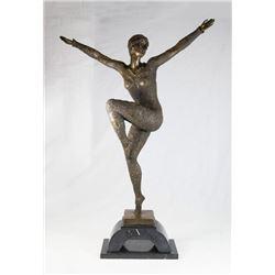 Large Art Deco Style Bronze Dancer