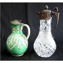 Crystal & Silvered Bronze Pitcher & Porcelain Ewer