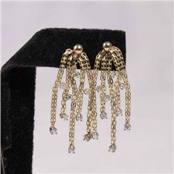 Pair 14K Yellow Gold & Diamond Earrings
