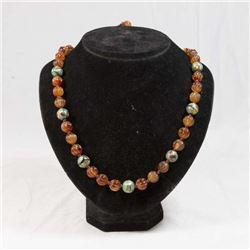 Antique Agate & Cloisonné Bead Necklace