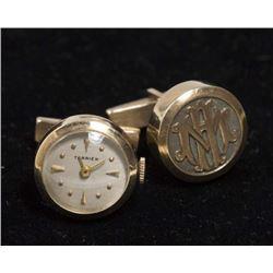 Pair 14K Monogram Watch Cufflinks