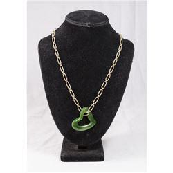 Elsa Peretti Style Jade Pendant on Chain