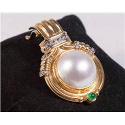 14K Gold, Diamond, Pearl & Green Stone Pendant