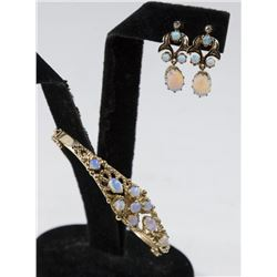 14K Yellow Gold & Opal Bracelet & Earrings Set