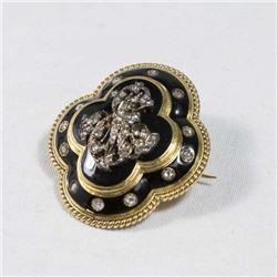 Gold Enamel & Diamond Brooch
