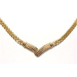 14K Yellow Gold & Diamond Chevron Necklace