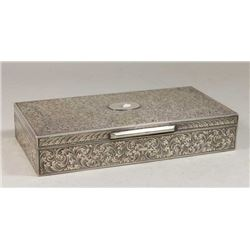Etched 800 Silver Box with Scroll Design