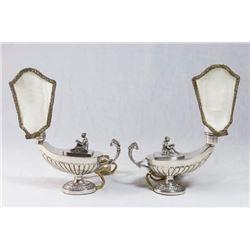 Pair 800 Silver Aladdin Lamps