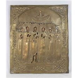 Russian Icon of Jesus and 6 Saints