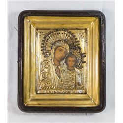 19th Century Framed Icon of Mother and Child
