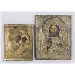 """2 Russian Icons, """"Mother and Child"""" and Jesus"""