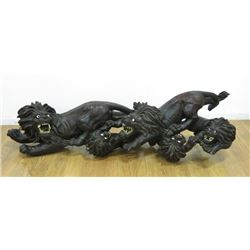 Large Wood Asian Carving of Lions