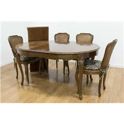 Walnut Table with 4 Cane Back & Seat Chairs