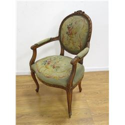 19th C French Needlepoint Arm Chair