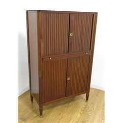 Mahogany Marble Top Cabinet with Tambour Doors
