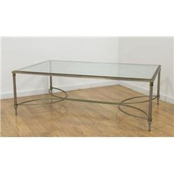 Brass and Steel Glass Top Coffee Table
