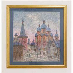 """""""Russia Red Sunset"""" Serigraph, Anatole Krasnyansky"""