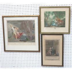 3 Framed French Engravings