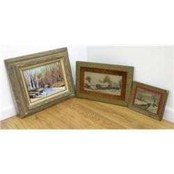 3 Oil Paintings of Snow Scenes